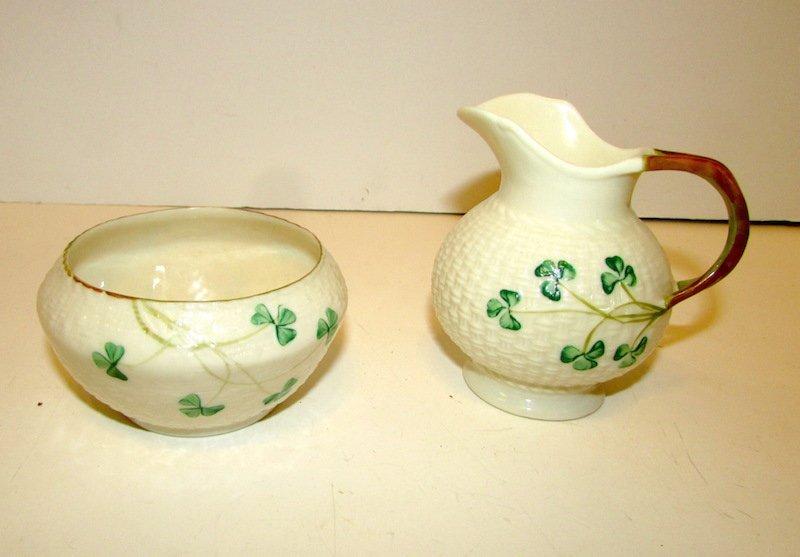 Irish Belleek Shamrock Pattern Creamer Sugar Bowl