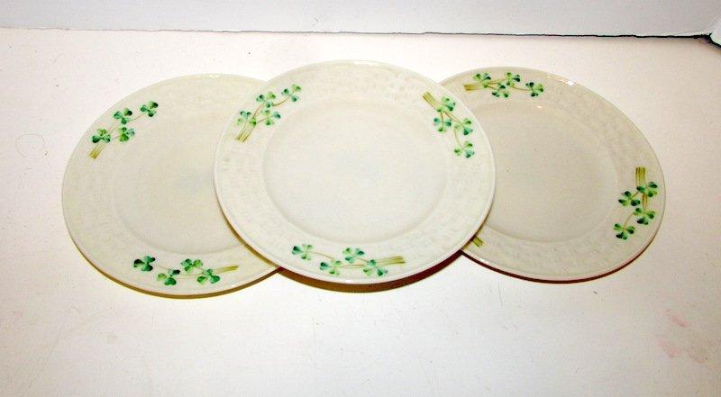 Irish Belleek Shamrock Pattern Plates