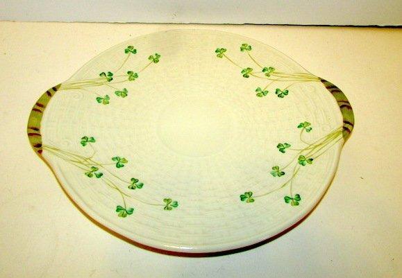 Irish Belleek Shamrock Cake Plate