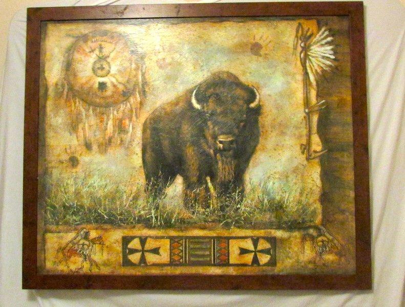 Vintage Lee Reynolds Oil on Canvas Buffalo Painting
