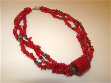 Vintage Red Coral Turquoise Necklace