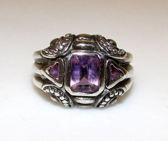 Art Deco Sterling Amethyst Ring Size 8