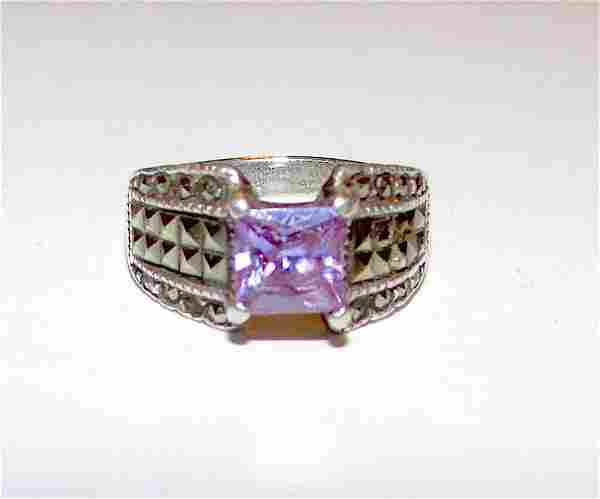 Art Deco Sterling Amethyst Ring Size 6.5