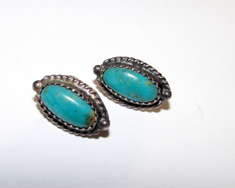 Old Pawn Navajo Sterling Silver Turquoise Earrings