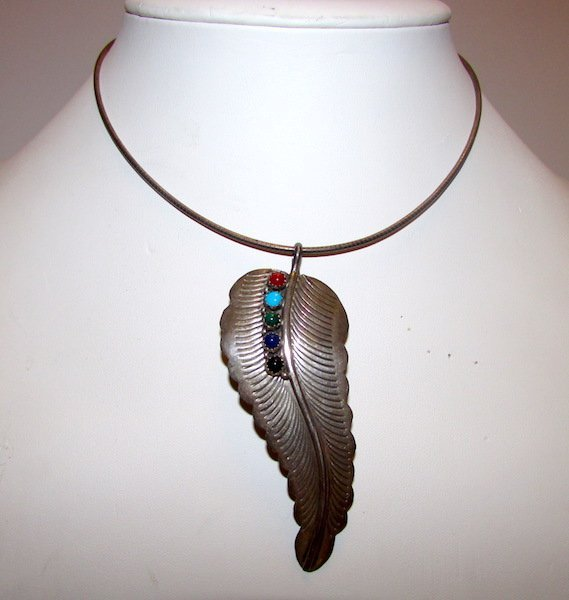 Old Pawn Navajo Sterling Feather Necklace