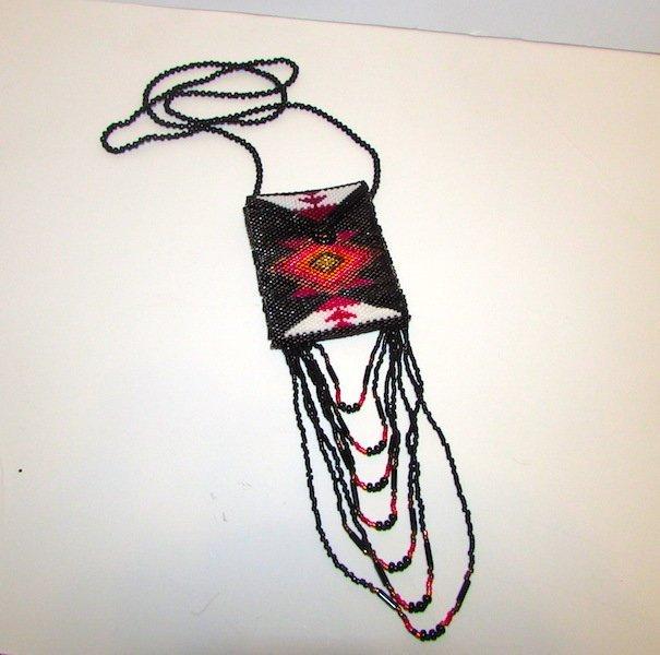 Vintage Native American Beaded Medicine Bag Pouch