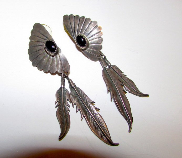 Old Pawn Navajo Sterling Jet Feather Earrings
