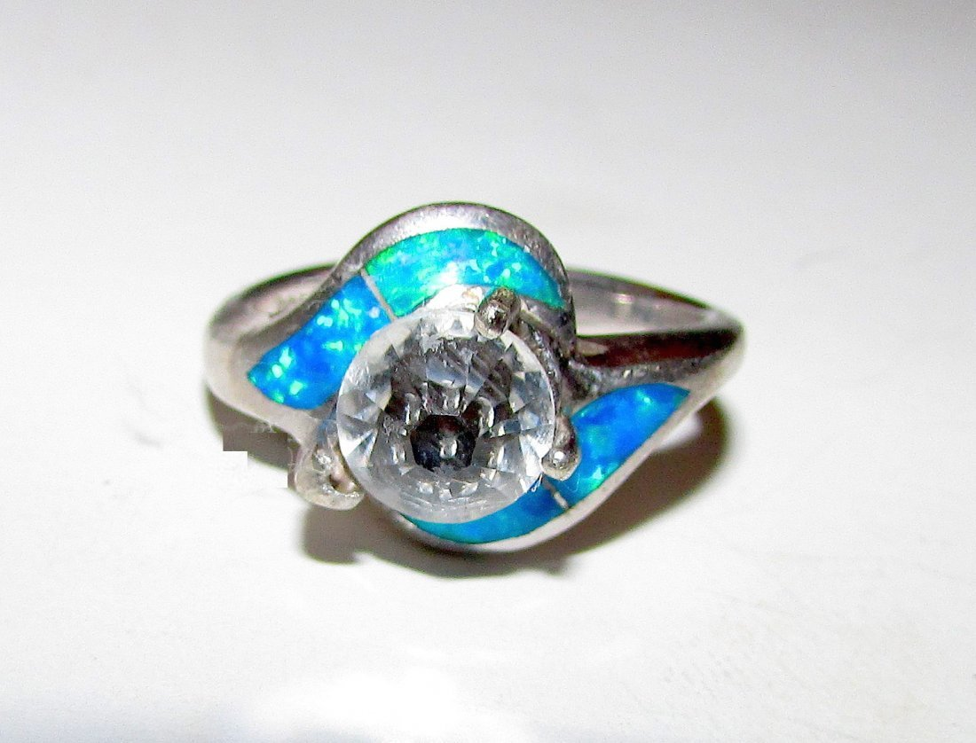 Sterling Fire Opal Crystal Solitaire Size 6
