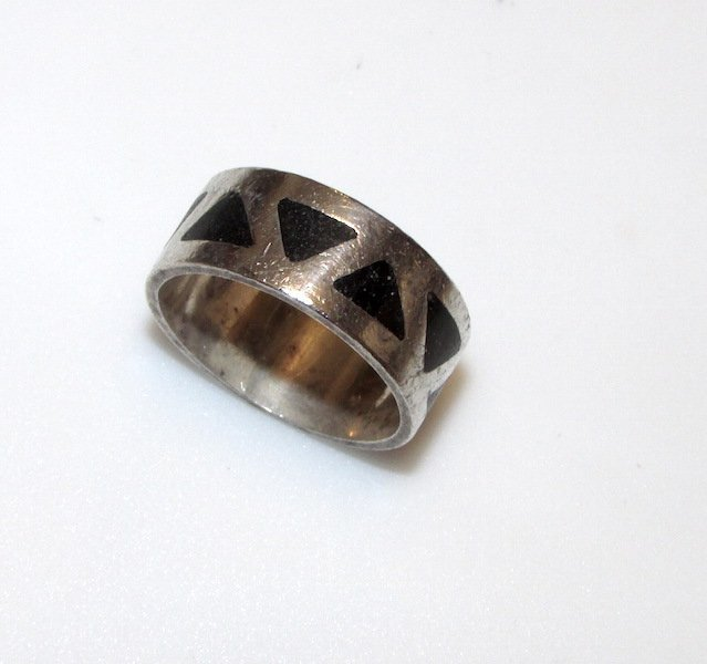 Art Deco Sterling Onyx Ring Size 8