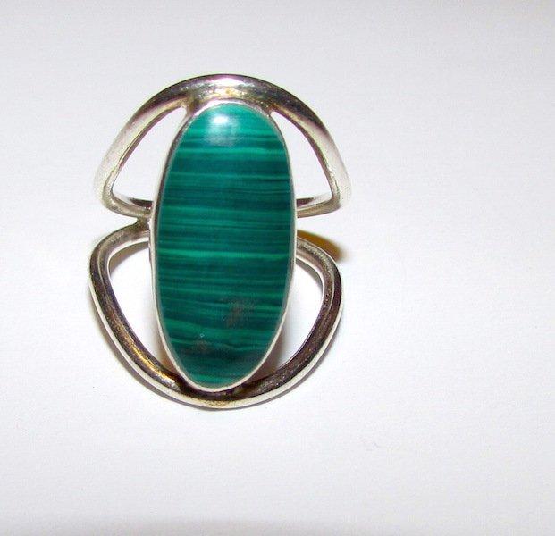 Art Deco Sterling Malachite Ring Size 5