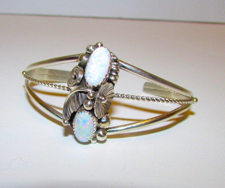 Vintage Navajo Sterling Opal Cuff Bracelet