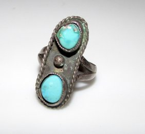 Old Pawn Navajo Sterling Turquoise Ring Size 6