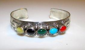 Navajo J Bahe Sterling Turquoise Coral Bracelet