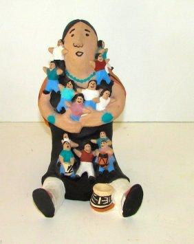 Vintage Santo Domingo Pueblo Pottery Story Teller