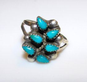 Old Pawn Zuni Turquoise Tree Of Life Ring 5