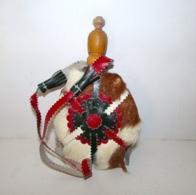Vintage Native American Deer Hide Water Canteen