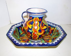 Vintage Talavera Mexican Pottery Water Pitcher Basin