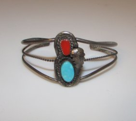 Old Pawn Sterling Navajo Turquoise Coral Bracelet