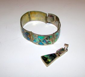 Vintage Taxco Sterling Silver Abalone Inlay Bracelet