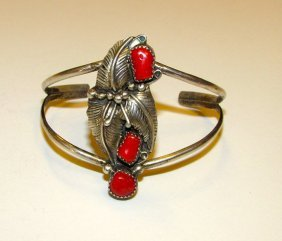 Vintage Old Pawn Navajo Sterling Coral Cuff