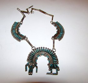 Old Pawn Zuni Sterling Turquoise Yei Squash Blossom.