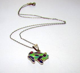 Vintage Sterling Silver Fire Opal Inlay Frog Pendant