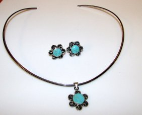 Mexican Taxco Sterling Silver Turquoise Collar Necklace