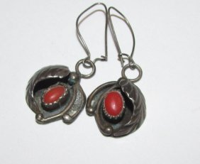 Old Pawn Navajo Sterling Silver Coral Earrings