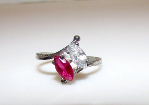 Art Deco Sterling Ruby Red Spinel and Quartz Ring