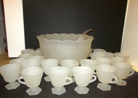 Punch Bowl Set Footed Cups Frosted Glass Tiara 25