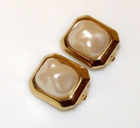 Givenchy Designer Clip On Faux Baroque Pearl Gold Tone