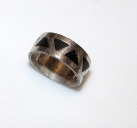 Art Deco Sterling Silver 925 Onyx Inlay Ring