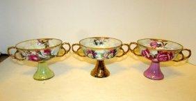 Victorian Porcelain Lustrous Footed Pedestal Dessert