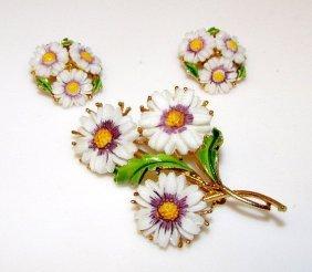 Vintage Designer Lisner White Floral Brooch And Clip On