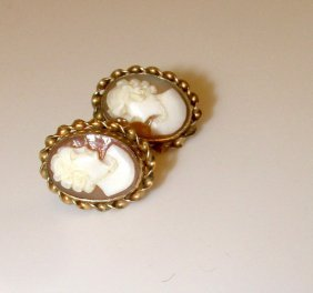 Vintage Carved Shell 12k Gf Screw Back Cameo Earrings.