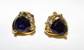 10k Gold Sapphire Diamond Earrings Estate Fine Jewelry
