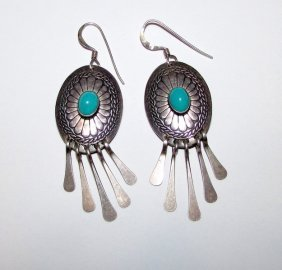Old Pawn Navajo Sterling Turquoise Dangle Earrings