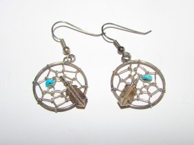 Vintage Navajo Sterling Dream Catcher Earrings
