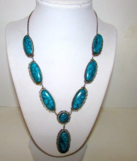 Pre Eagle Mexican Sterling Turquoise Necklace Platareal