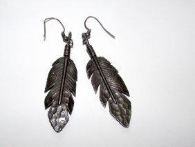 Navajo Rose Lincoln Sterling Feather Earrigns