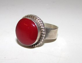 Vintage Mexican Taxco Sterling Coral Ring Size 7
