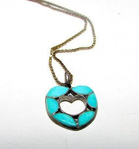 Old Pawn Sterling Turquoise Zuni Inlay Hear Pendant