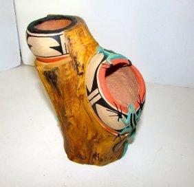 Vintage Pueblo Hopi Cottonwood And Clay Pottery Décor