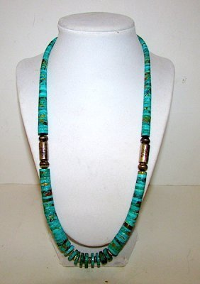 Old Pawn Navajo Sterling Turquoise Disc Necklace