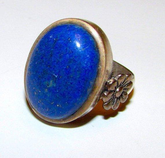 Art Nouveau Sterling Silver Blue Lapis Lazuli Statement