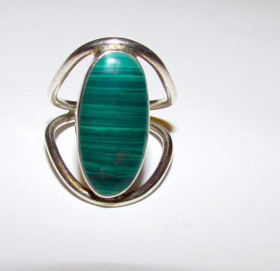 Art Deco Sterling Silver Clear Green Malachite