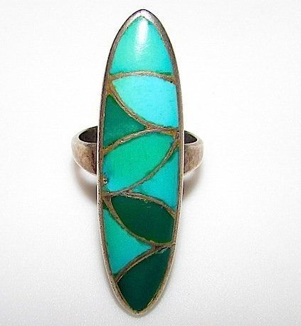Old Pawn Zuni Sterling Turquoise Large Inlay Ring Sz 6