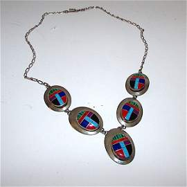 Old Pawn Navajo Sterling Coral Turquoise Necklace