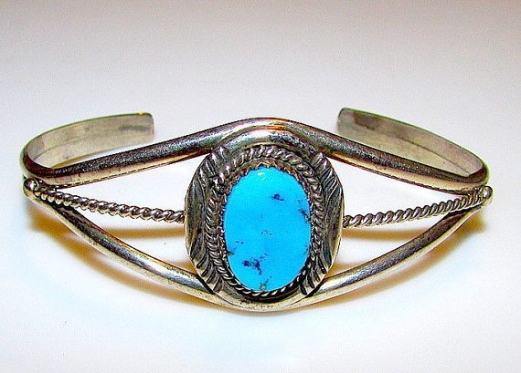 Native American Navajo Sterling Silver Kingman