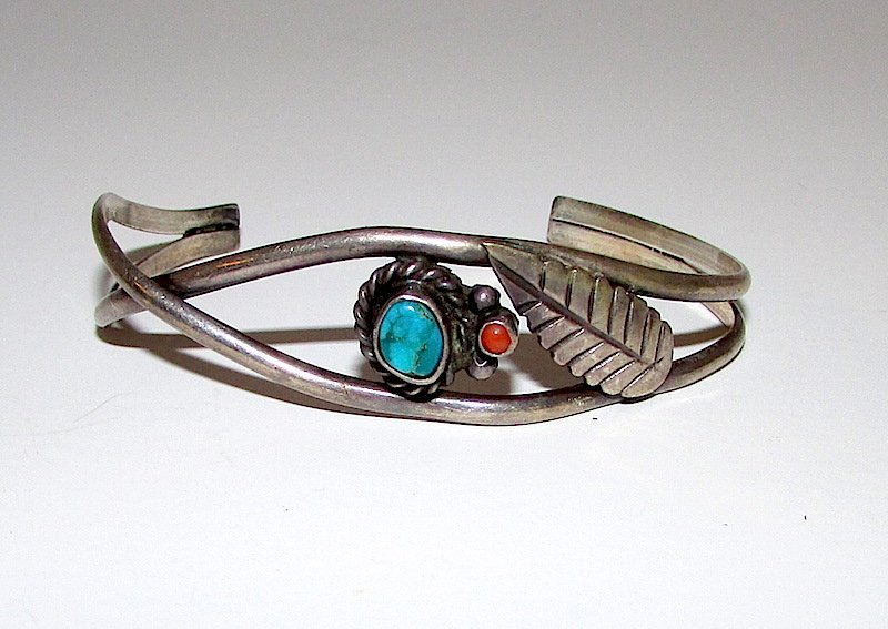 Old Pawn Navajo Sterling Turquoise Coral Cuff Necklace